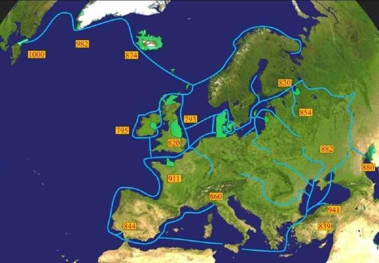 La carte des explorations maritimes scandinaves