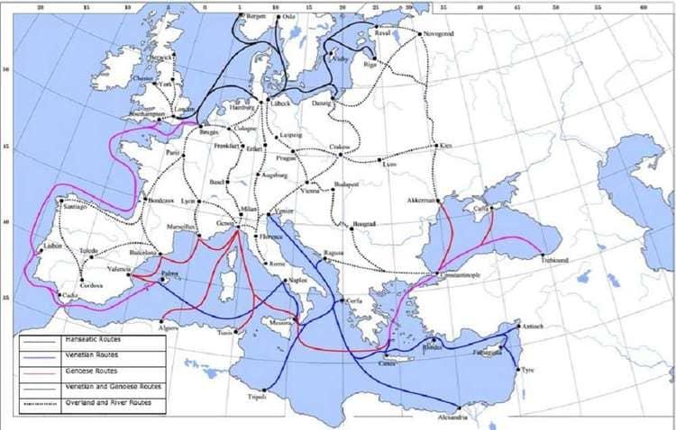 les voies commerciales médiévales au XIV ème siècle