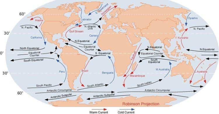 Les courants maritimes en océan Atlantique et Indien