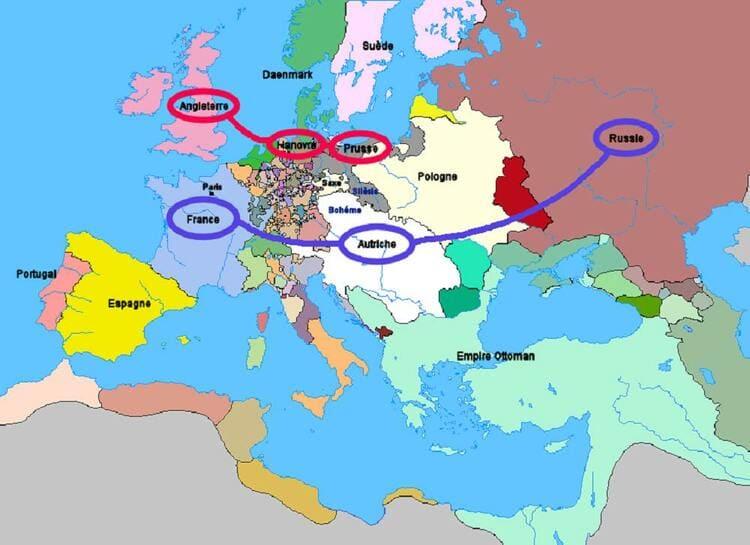 La carte des alliances militaires de la guerre de Sept Ans