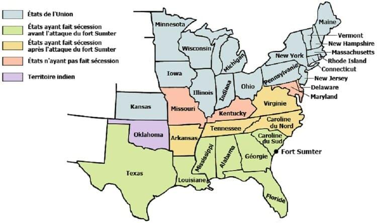 La carte des États de l'Union au Nord et sécessionnistes au Sud