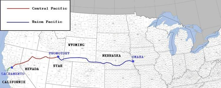 Le tracé du premier chemin de fer transcontinental américain