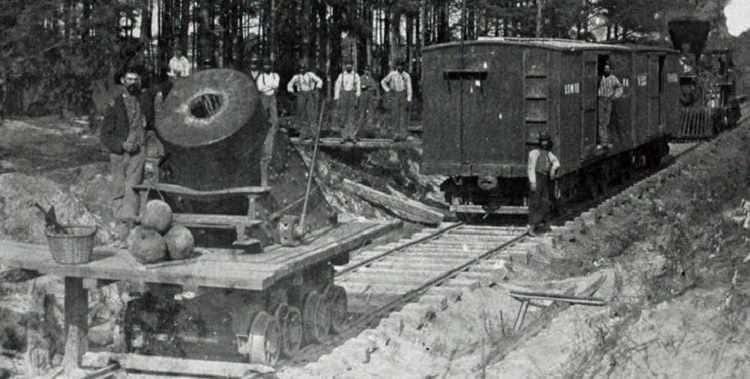 Un mortier d'artillerie ferroviaire au siège de Petersburg