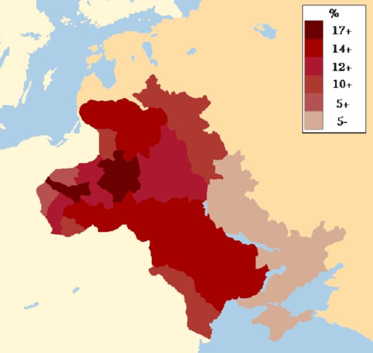 La répartition de la population juive dans la Zone de Résidence