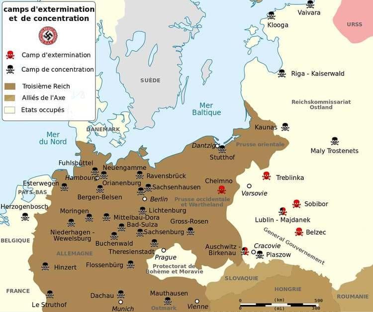 La carte des camps d'extermination et de concentration nationaux-socialistes