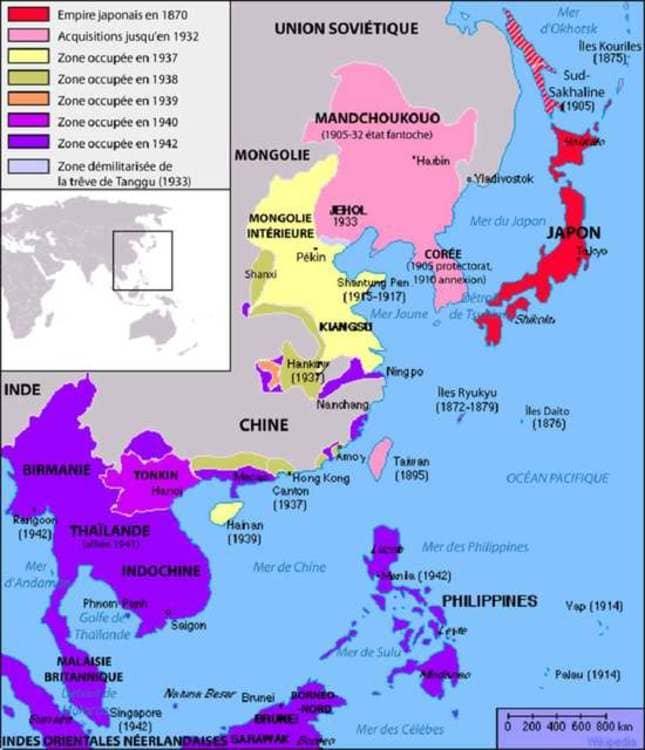 Carte de l'extension territoriale de l'Empire du Japon