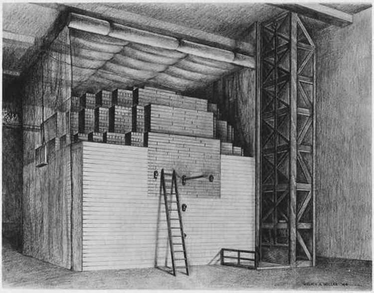 Le dessin du réacteur nucléaire de la Chicago Pile-1