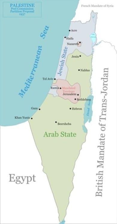 Le plan de partition de la Commission royale pour la Palestine mandataire