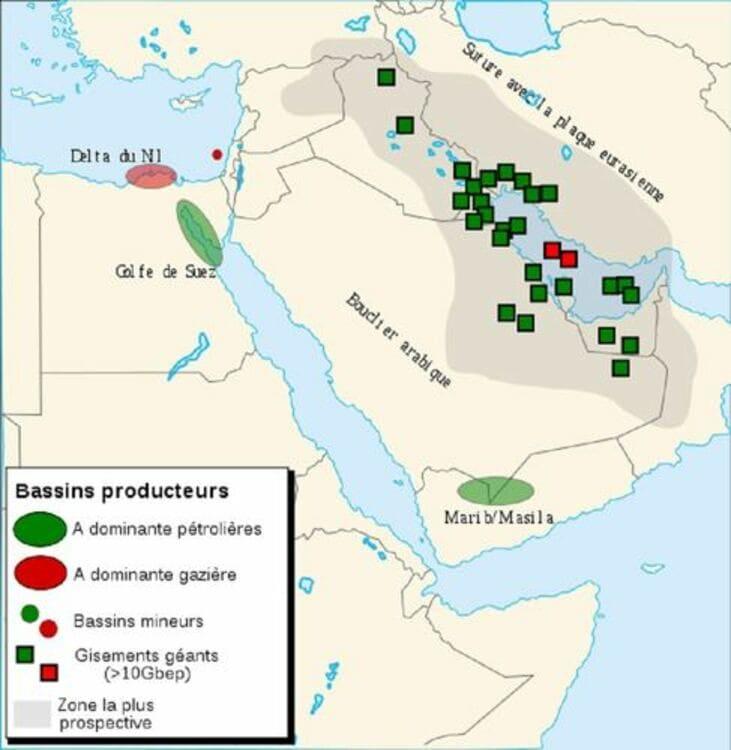La carte des réserves d'hydrocarbures du golfe Persique