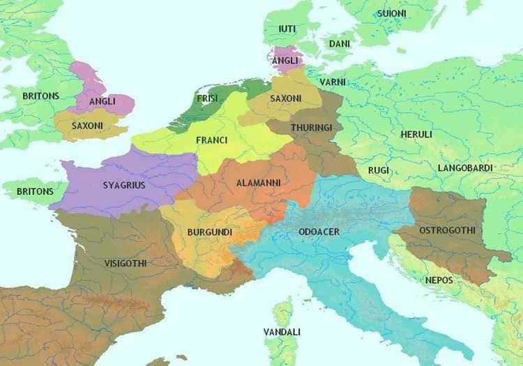 Les populations barbares au V ème siècle